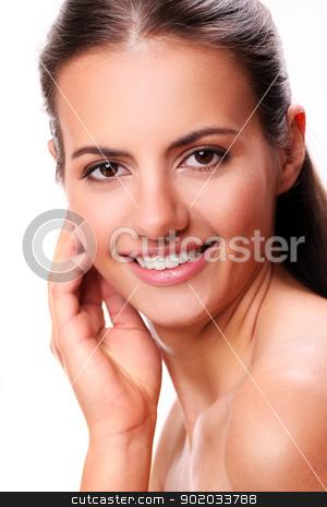 Portrait of beautiful smiling woman stock photo, Portrait of beautiful smiling woman with long hair by yekostock