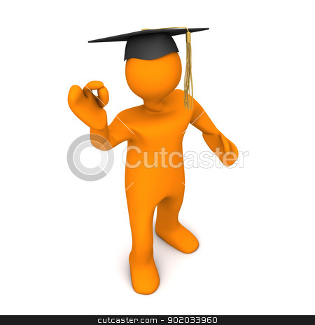 Graduate Black Super stock photo, Orange cartoon character with black graduation cap and super symbol. by Alexander Limbach