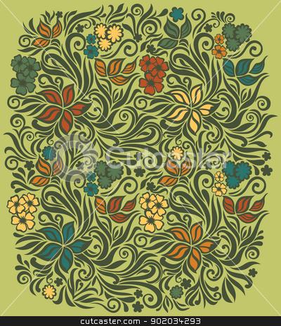 Decorative floral background stock vector clipart, Decorative floral illustration on the olive background with flowers and leaves by Allaya