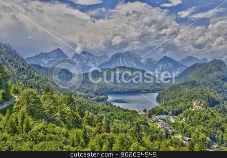 Castle Hohenschwangau stock photo, Castle Hohenschwangau with alps and Alpsee in Bavaria by Reinhold Wittich