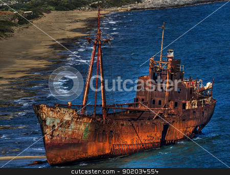 Gythion Wreck stock photo, Ship wreck at Gythion Greece by Reinhold Wittich