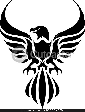 eagle tattoo stock vector clipart, vector illustration of eagle tattoo by ayoeb