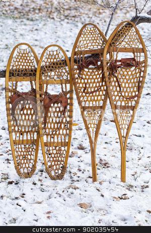 Bear Paw and Huron snowshoes stock photo, Bear Paw and Huron vintage wooden snowshoes with leather binding by Marek Uliasz