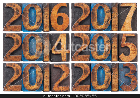 incoming years 2012-2017 stock photo, incoming years from 2012 to 2017 - isolated text in vintage letterpress wood type printing blocks stained by ink by Marek Uliasz