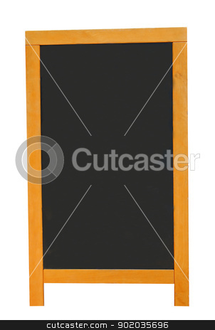 Blank chalkboard stock photo, Blank chalkboard with copy space isolated on white. by Martin Crowdy