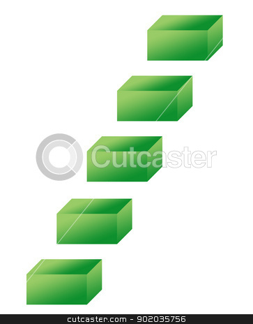 Eco green steps stock photo, Eco green steps isolated on white background. by Martin Crowdy