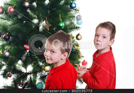 Christmas decoration stock photo, two little boys brothers decorating christmas tree, looking at camera, horizontal shot by Milsi Art