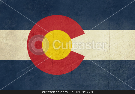 Grunge Colorado state flag stock photo, Grunge Colorado state flag of America, isolated on white background.  by Martin Crowdy