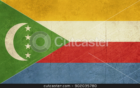 Grunge Comoros Flag stock photo, Grunge sovereign state flag of country of Comoros in official colors. by Martin Crowdy