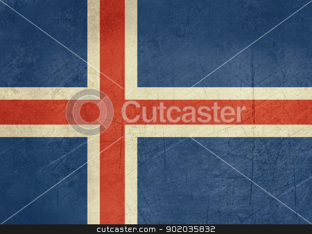 Grunge Iceland Flag stock photo, Grunge sovereign state flag of country of Iceland in official colors. by Martin Crowdy