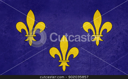 Grunge Ile de France flag stock photo, Grunge illustration of French province of national state of Il de France, France.  by Martin Crowdy