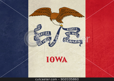Grunge Iowa state flag stock photo, Grunge Iowa state flag of America, isolated on white background. by Martin Crowdy