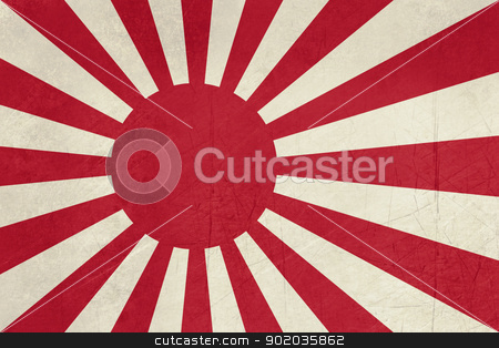 Grunge Japanese Navy Ensign stock photo, Grunge Rising Sun ensign of Japanese navy in red and white. by Martin Crowdy