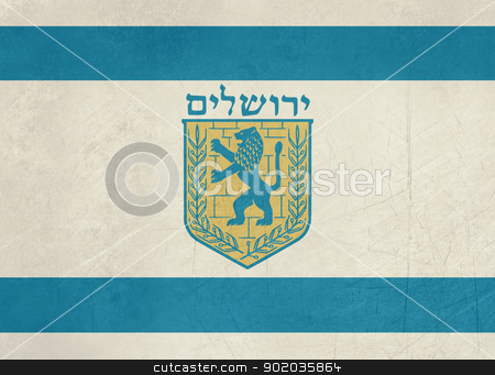 Grunge Jerusalem flag stock photo, Grunge city of Jerusalem flag from Israel in official colors. by Martin Crowdy