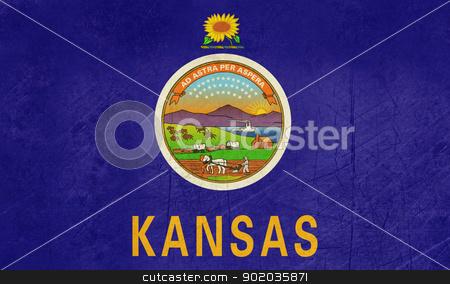 Grunge Kansas state flag stock photo, Grunge Kansas state flag of America, isolated on white background. by Martin Crowdy
