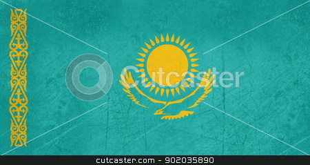 Grunge Kazakhstan flag stock photo, Grunge sovereign state flag of country of Kazakhstan in official colors. by Martin Crowdy