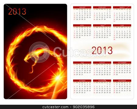 Calendar twenty thirteen. Fire Snake stock photo, Calendar twenty twelve template. Fire Snake. Illustration for design by dvarg