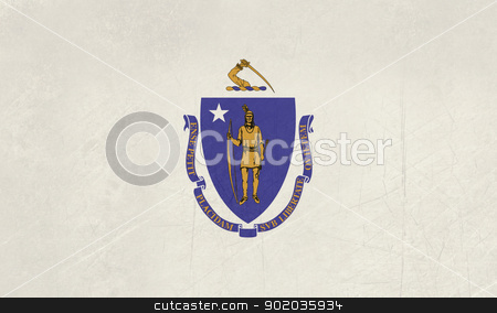 Grunge Massachusetts state flag stock photo, Grunge Massachusetts state flag of America, isolated on white background. by Martin Crowdy