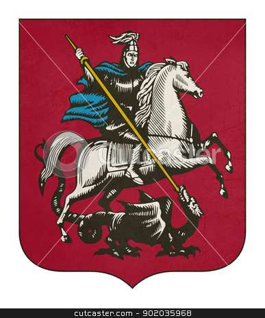 Grunge Moscow coat of arms stock photo, Grunge illustration of Moscow city coat of arms, Russian Federation. by Martin Crowdy