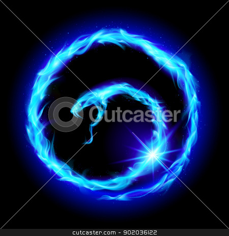 Abstract spiral snake stock photo, Abstract spiral blue snake. Illustration  on black background by dvarg