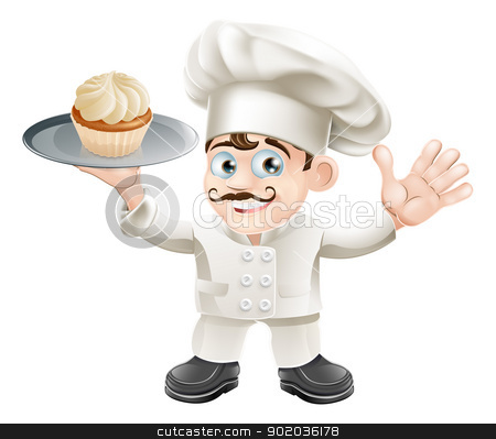 Cake baker stock vector clipart, Illustration of a chef or baker with a cake on a plate by Christos Georghiou