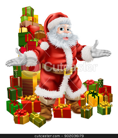Santa Claus and Christmas Gifts stock vector clipart, An Illustration of Santa Claus with a big stack of Christmas Gifts behind him  by Christos Georghiou