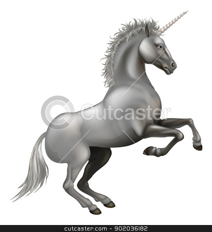 Powerful Unicorn illustration stock vector clipart, Illustration of a powerful unicorn rearing on its hind legs by Christos Georghiou