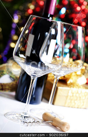 wine glasses stock photo, Wine glasses on Christmas tree background by klenova