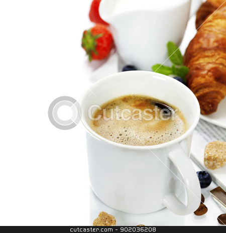 breakfast stock photo, breakfast with coffee, croissant and magazine by klenova