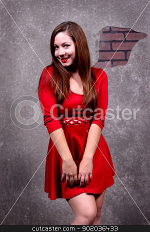 Woman Red Dress stock photo, Woman in a red dress in front of a concrete wall. by Henrik Lehnerer