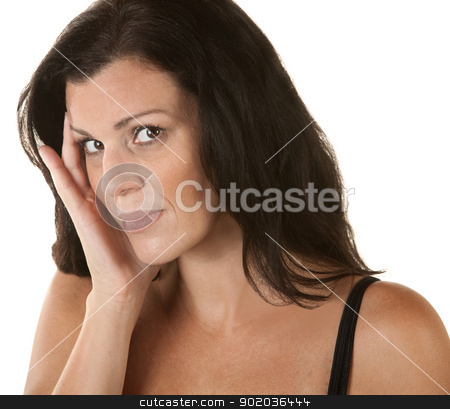 Woman with Hand on Side of Face stock photo, Annoyed woman with head on head over isolated background by Scott Griessel