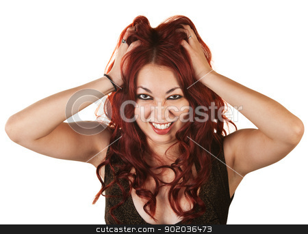 Emotional Woman Pulling Her Hair stock photo, Emotional Native American woman grabbing her hair by Scott Griessel