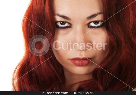 Serious Latina Beauty stock photo, Close up of serious Latina Beauty over white background by Scott Griessel