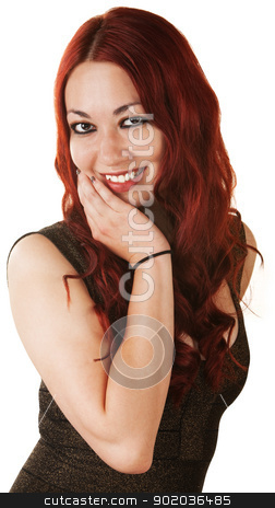 Cute Woman with Hand on Chin stock photo, Cute cheerful Hispanic woman with hand on chin by Scott Griessel