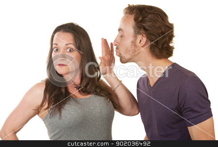 Lady Blocking a Man's Kiss stock photo, Unhappy woman blocking bearded man's kiss over white background by Scott Griessel