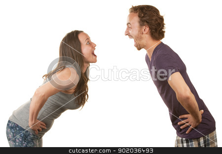 Excited Couple Facing Each Other stock photo, Excited white couple with hands on hips facing each other by Scott Griessel