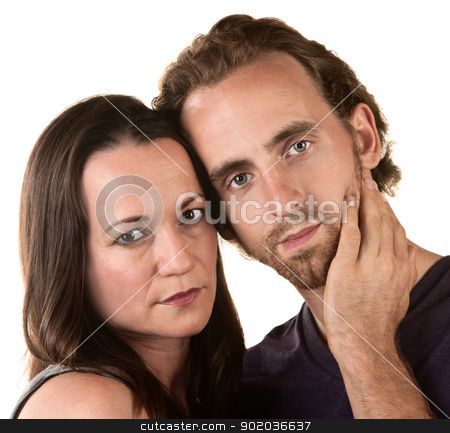 Serious Couple Close Up stock photo, Close up of serious Caucasian couple on isolated background by Scott Griessel