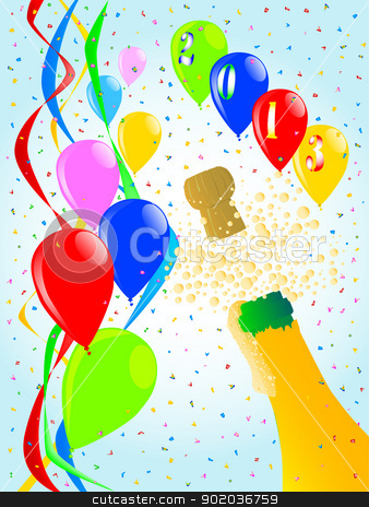 Champagne Party stock vector clipart, Multi coloured balloons, confetti and streamers, a party image. by Kotto