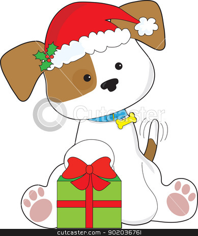 Christmas Puppy stock vector clipart, A cute puppy wearing a Santa hat, sits by a wrapped Christmas gift with tail wagging in anticipation. by Maria Bell