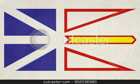 Grunge Newfoundland and Labrador state flag stock photo, Grunge illustration of Newfoundland and Labrador state flag, Canada. by Martin Crowdy