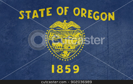 Grunge Oregon state flag stock photo, Grunge Oregon state flag of America, isolated on white background. by Martin Crowdy