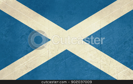 Grunge Scotland flag stock photo, Grunge Scottish Flag illustration, isolated on white background. by Martin Crowdy