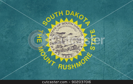 Grunge South Dakota state flag stock photo, Grunge South Dakota state flag of America, isolated on white background. by Martin Crowdy