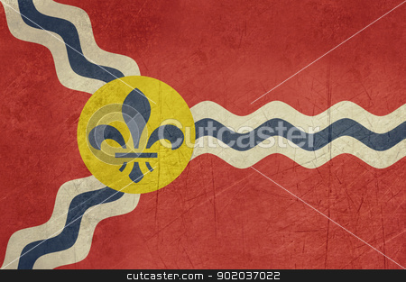 Grunge St Louis flag stock photo, Gruinge city flag of St Louis city in Missouri in the U.S.A.  by Martin Crowdy