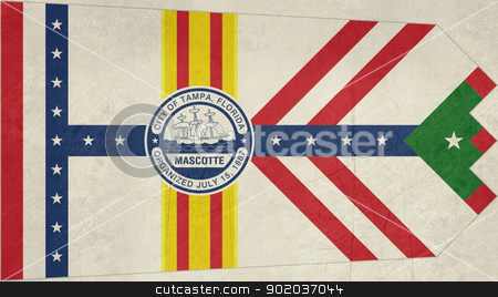 Grunge Tampa city flag stock photo, Grunge city flag of Tampa city, Florida, U.S.A.  by Martin Crowdy