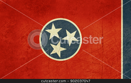 Grunge Tennessee state flag stock photo, Grunge Tennessee state flag of America, isolated on white background. by Martin Crowdy