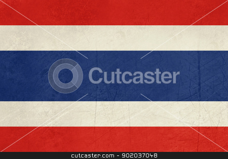 Grunge Thailand Flag stock photo, Grunge sovereign state flag of country of Thailand in official colors.  by Martin Crowdy