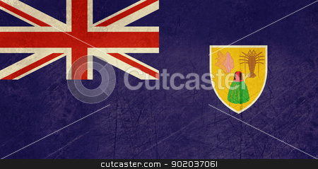 Grunge Turks and Caicos Islands stock photo, Grunge sovereign state flag of dependent country of Turks and Caicos Islands in official colors.  by Martin Crowdy