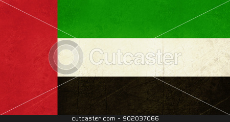 Grunge United Arab Emirates flag stock photo, Grunge Sovereign state flag of country of United Arab Emirates in official colors.  by Martin Crowdy
