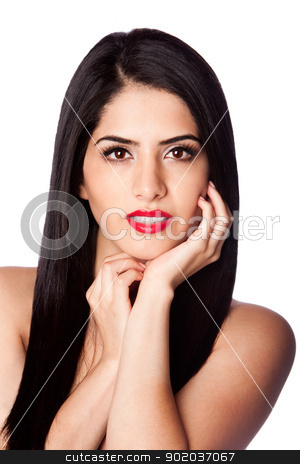 Beauty hair and red lipstick stock photo, Face of a beautiful woman with long black hair and red lipstick, isolated. by Paul Hakimata
